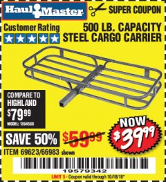 Harbor Freight Coupon STEEL CARGO CARRIER Lot No. 66983/69623 Valid Thru: 10/18/18 - $39.99