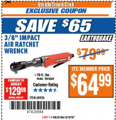 "Harbor Freight ITC Coupon 3/8"" PROFESSIONAL IMPACT AIR RATCHET WRENCH Lot No. 68426 Expired: 6/19/18 - $64.99"