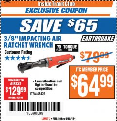 "Harbor Freight ITC Coupon 3/8"" PROFESSIONAL IMPACT AIR RATCHET WRENCH Lot No. 68426 Expired: 9/18/18 - $64.99"