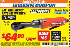 "Harbor Freight ITC Coupon 3/8"" PROFESSIONAL IMPACT AIR RATCHET WRENCH Lot No. 68426 Expired: 11/30/18 - $64.99"