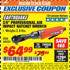 "Harbor Freight ITC Coupon 3/8"" PROFESSIONAL IMPACT AIR RATCHET WRENCH Lot No. 68426 Expired: 1/31/19 - $64.99"