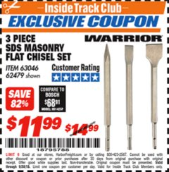 Harbor Freight ITC Coupon 3 PIECE SDS MASONRY FLAT CHISEL SET Lot No. 42651/63046/62479 Expired: 9/30/18 - $11.99