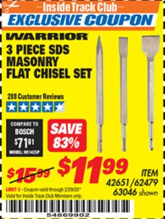 Harbor Freight ITC Coupon 3 PIECE SDS MASONRY FLAT CHISEL SET Lot No. 42651/63046/62479 Expired: 2/29/20 - $11.99