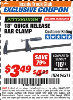 "Harbor Freight ITC Coupon 18"" QUICK RELEASE BAR CLAMP Lot No. 96211 Expired: 9/30/18 - $3.49"