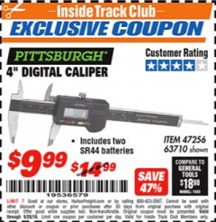 "Harbor Freight ITC Coupon 4"" DIGITAL CALIPER Lot No. 63710/47256 Expired: 9/30/18 - $9.99"