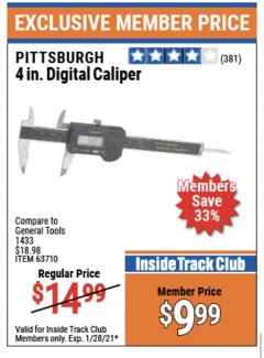 "Harbor Freight ITC Coupon 4"" DIGITAL CALIPER Lot No. 63710/47256 Valid Thru: 1/28/21 - $9.99"