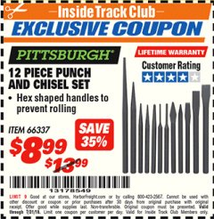 Harbor Freight ITC Coupon 12 PIECE PUNCH AND CHISEL SET Lot No. 66337 Expired: 7/31/18 - $8.99