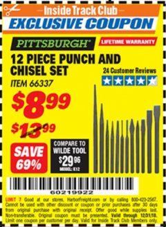 Harbor Freight ITC Coupon 12 PIECE PUNCH AND CHISEL SET Lot No. 66337 Valid Thru: 12/31/18 - $8.99
