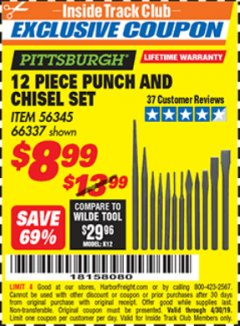 Harbor Freight ITC Coupon 12 PIECE PUNCH AND CHISEL SET Lot No. 66337 Expired: 4/30/19 - $8.99