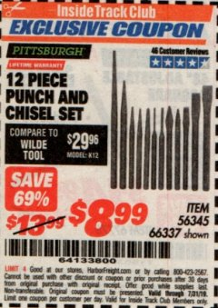 Harbor Freight ITC Coupon 12 PIECE PUNCH AND CHISEL SET Lot No. 56345/66337 Expired: 7/31/19 - $8.99