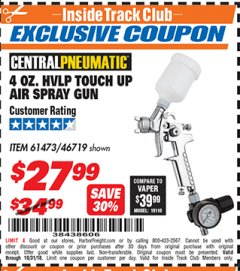 Harbor Freight ITC Coupon 4 OZ. HVLP TOUCH UP AIR SPRAY GUN Lot No. 46719/61473 Expired: 10/31/18 - $27.99