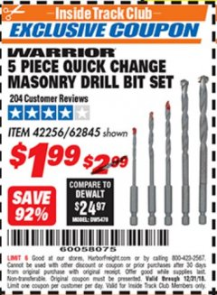 Harbor Freight ITC Coupon DRILLMASTER 5 PIECE QUICK CHANGE MASONRY DRILL BIT SET Lot No. 62845, 42256 Expired: 12/31/18 - $1.99