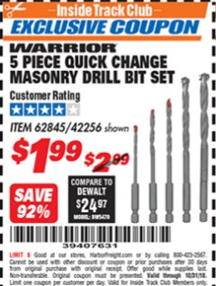 Harbor Freight ITC Coupon DRILLMASTER 5 PIECE QUICK CHANGE MASONRY DRILL BIT SET Lot No. 62845, 42256 Expired: 10/31/18 - $1.99