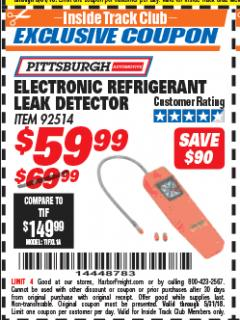 Harbor Freight ITC Coupon ELECTRIC REFRIGERANT LEAK DETECTOR Lot No. 92514 Expired: 5/31/18 - $59.99
