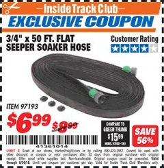 "Harbor Freight ITC Coupon 3/4"" X 50 FT. FLAT SEEPER SOAKER HOSE Lot No. 97193 Expired: 6/30/18 - $6.99"