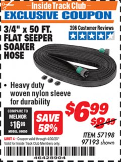 "Harbor Freight ITC Coupon 3/4"" X 50 FT. FLAT SEEPER SOAKER HOSE Lot No. 97193 Expired: 4/30/20 - $6.99"