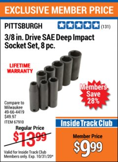 "Harbor Freight ITC Coupon 8 PIECE 3/8"" DRIVE DEEP IMPACT SOCKET SETS Lot No. 67910/67928 Valid Thru: 10/31/20 - $9.99"
