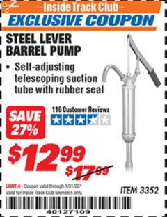 Harbor Freight ITC Coupon STEEL LEVER BARREL PUMP Lot No. 3352 Expired: 1/31/20 - $12.99