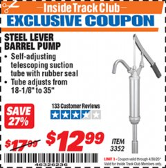 Harbor Freight ITC Coupon STEEL LEVER BARREL PUMP Lot No. 3352 Expired: 4/30/20 - $12.99