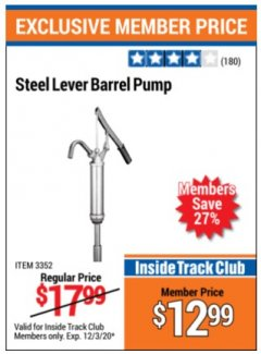 Harbor Freight ITC Coupon STEEL LEVER BARREL PUMP Lot No. 3352 Valid Thru: 12/3/20 - $12.99