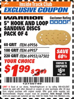 "Harbor Freight ITC Coupon 5"" HOOK AND LOOP SANDING DISKS PACK OF 4 Lot No. 69957/69958/69953 Expired: 7/31/18 - $1.99"
