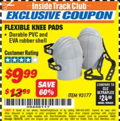 Harbor Freight ITC Coupon FLEXIBLE KNEE PADS Lot No. 93177 Dates Valid: 12/31/69 - 10/31/18 - $9.99