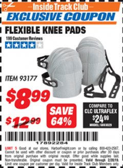 Harbor Freight ITC Coupon FLEXIBLE KNEE PADS Lot No. 93177 Dates Valid: 12/31/69 - 2/28/19 - $8.99