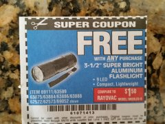 "Harbor Freight FREE Coupon 3-1/2"" SUPER BRIGHT ALUMINUM FLASHLIGHT Lot No. 69111/63599/62522/62573/63875/63884/63886/63888/69052 Expired: 9/6/18 - FWP"