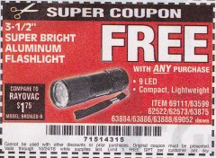 "Harbor Freight FREE Coupon 3-1/2"" SUPER BRIGHT ALUMINUM FLASHLIGHT Lot No. 69111/63599/62522/62573/63875/63884/63886/63888/69052 Expired: 10/24/18 - FWP"