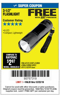 "Harbor Freight FREE Coupon 3-1/2"" SUPER BRIGHT ALUMINUM FLASHLIGHT Lot No. 69111/63599/62522/62573/63875/63884/63886/63888/69052 Expired: 12/22/19 - FWP"