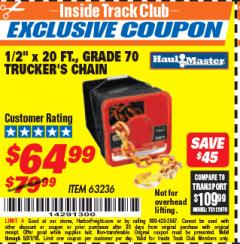 "Harbor Freight ITC Coupon 1/2"" X 20 FT. GRADE 70 TRUCKERS CHAIN Lot No. 63236 Expired: 5/31/18 - $64.99"