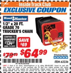 "Harbor Freight ITC Coupon 1/2"" X 20 FT. GRADE 70 TRUCKERS CHAIN Lot No. 63236 Expired: 5/31/19 - $64.99"
