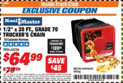 "Harbor Freight ITC Coupon 1/2"" X 20 FT. GRADE 70 TRUCKERS CHAIN Lot No. 63236 Valid Thru: 12/31/18 - $64.99"