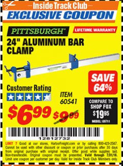 "Harbor Freight ITC Coupon 24"" ALUMINUM BAR CLAMP Lot No. 60541 Expired: 7/31/18 - $6.99"