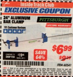 "Harbor Freight ITC Coupon 24"" ALUMINUM BAR CLAMP Lot No. 60541 Expired: 7/31/19 - $6.99"