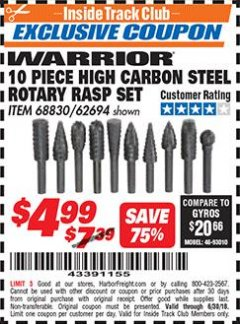 Harbor Freight ITC Coupon 10 PIECE HIGH CARBON STEEL ROTARY RASP SET Lot No. 68830/62694 Expired: 6/30/18 - $4.99