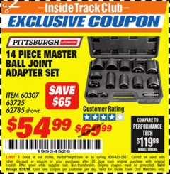 Harbor Freight ITC Coupon 14 PIECE MASTER BALL JOINT ADAPTER SET Lot No. 62785/63725/60307 Expired: 9/30/18 - $54.99
