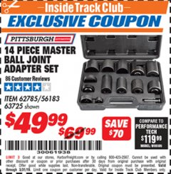 Harbor Freight ITC Coupon 14 PIECE MASTER BALL JOINT ADAPTER SET Lot No. 62785/63725/60307 Valid Thru: 3/31/19 - $49.99