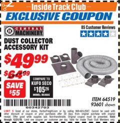 Harbor Freight ITC Coupon DUST COLLECTOR ACCESSORY KIT Lot No. 93601 Expired: 12/31/18 - $49.99