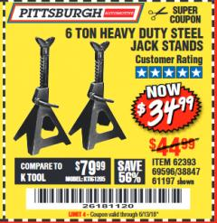 Harbor Freight Coupon 6 TON HEAVY DUTY STEEL JACK STANDS Lot No. 61197/38847/69596/62393 Expired: 6/13/18 - $34.99
