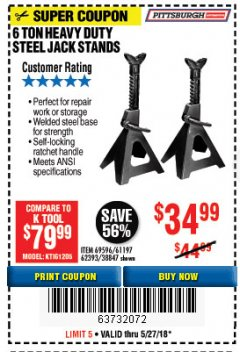 Harbor Freight Coupon 6 TON HEAVY DUTY STEEL JACK STANDS Lot No. 61197/38847/69596/62393 Expired: 5/27/18 - $34.99