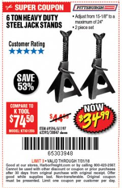Harbor Freight Coupon 6 TON HEAVY DUTY STEEL JACK STANDS Lot No. 61197/38847/69596/62393 Expired: 7/31/18 - $34.99