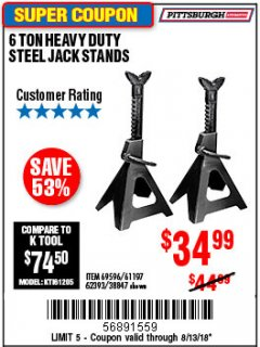 Harbor Freight Coupon 6 TON HEAVY DUTY STEEL JACK STANDS Lot No. 61197/38847/69596/62393 Expired: 8/13/18 - $34.99