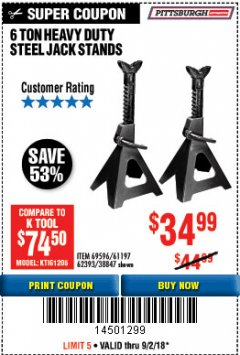 Harbor Freight Coupon 6 TON HEAVY DUTY STEEL JACK STANDS Lot No. 61197/38847/69596/62393 Expired: 9/2/18 - $34.99