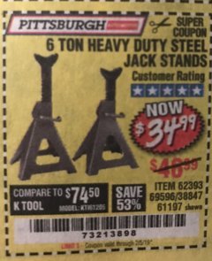 Harbor Freight Coupon 6 TON HEAVY DUTY STEEL JACK STANDS Lot No. 61197/38847/69596/62393 Expired: 2/5/19 - $34.99