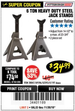 Harbor Freight Coupon 6 TON HEAVY DUTY STEEL JACK STANDS Lot No. 61197/38847/69596/62393 Expired: 11/30/18 - $34.99