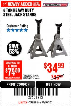 Harbor Freight Coupon 6 TON HEAVY DUTY STEEL JACK STANDS Lot No. 61197/38847/69596/62393 Expired: 12/16/18 - $34.99