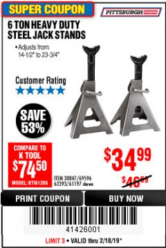 Harbor Freight Coupon 6 TON HEAVY DUTY STEEL JACK STANDS Lot No. 61197/38847/69596/62393 Expired: 2/18/19 - $34.99