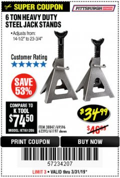 Harbor Freight Coupon 6 TON HEAVY DUTY STEEL JACK STANDS Lot No. 61197/38847/69596/62393 Valid Thru: 3/31/19 - $34.99