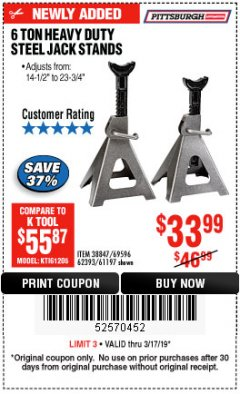 Harbor Freight Coupon 6 TON HEAVY DUTY STEEL JACK STANDS Lot No. 61197/38847/69596/62393 Expired: 3/17/19 - $33.99
